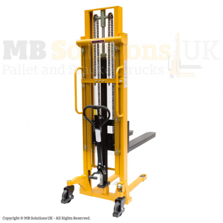 manual forklift stacker double mast back